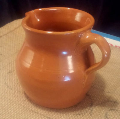 Vintage Cherokee Stoneware Pottery Small Pitcher ~Burnt Sienna Hand Thrown 3.75""