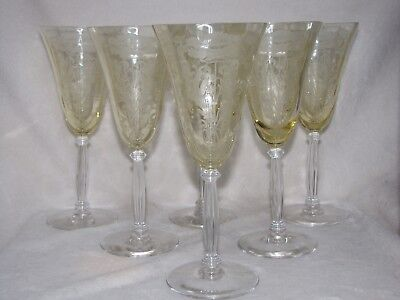 6 TIFFIN FLANDERS pattern GOBLETS YELLOW AMBER TOPAZ 1927-1935 CRYSTAL