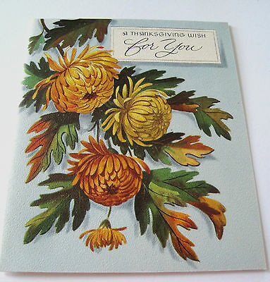 Used Vtg Thanksgiving Card Mums w Colored Fall Leaves on Blue