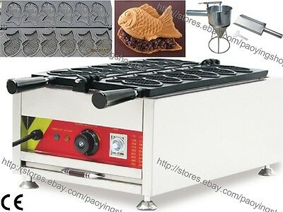 Commercial Nonstick Electric Taiyaki Fish Waffle Machine Maker Baker w/ Tool Set