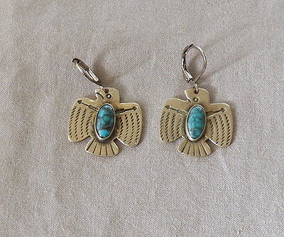 Vintage Fred Harvey Era Silver Turquoise Thunderbird Drop Dangle Earrings