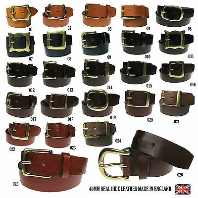 Unisex 40mm Full Grain Hide Casual Real Leather Jeans Trouser Belt Made In UK