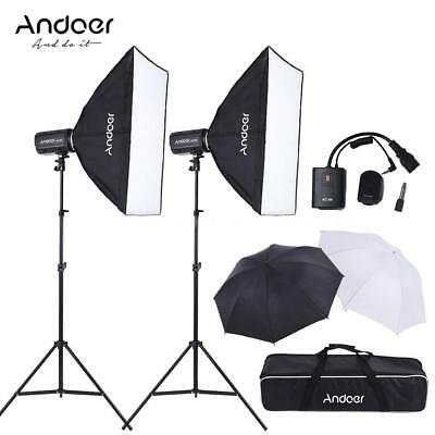 MD-300 600W Photo Studio Flash Light Softbox Lighting Kit for Photography M5Y8
