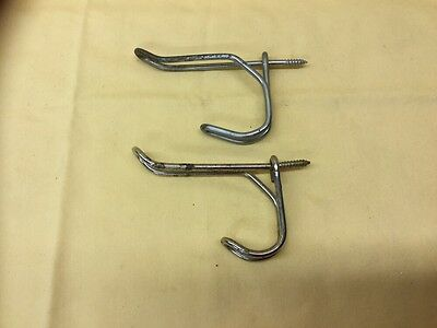 """2 Vintage Twisted Wire Hooks - 3"""" Long - Screw In Ends"""