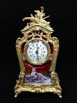 Antique  French Enamel And Bronze  Clock