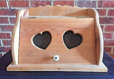 Vintage Bread Box Handmade Wood with Top Shelf Hearts Kitchen Decor Country