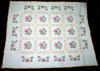 Vintage Hand Quilted Cross Stitched Quilt Flowers &  Squares Pink Gold Green