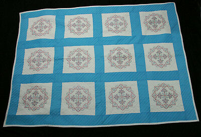Cross Stitch Snow Flakes & Hearts Sky Blue & Red White Hand Quilted Quilt