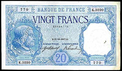 France. 20 Francs, 80484770, 25-10-1917, Nearly Very Fine.