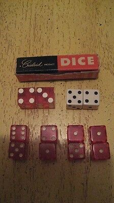 15 Vintage RED and 1 PAIR WHITE CHEATER  DICE FOR SHOOTING CRAPS