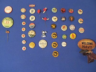 Vintage Pin Collection ! Over 40 Pins! Political, Sports , Audubon, Scouts!