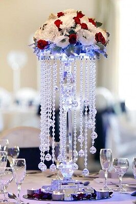 Medium sized clear crystal flower stand w/ decorative crystal beading SKU: ZT106