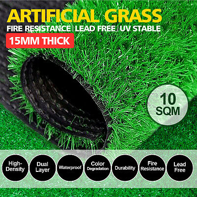 10SQM Synthetic Turf Artificial Grass Plastic Plant Fake Lawn Flooring 15mm