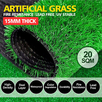 20SQM Synthetic Turf Artificial Grass Plastic Plant Fake Lawn Flooring 15mm