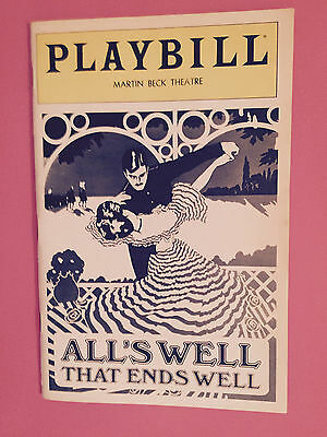 ALL'S WELL THAT ENDS WELL Opening Playbill w/ Stephen Moore, Margaret Tuzack