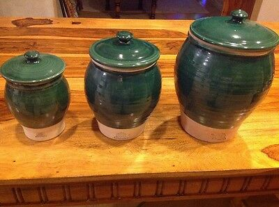 Rowe Pottery Works Lot Of 3 Hand Crafted Canisters