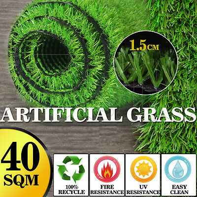 40 SQM Artificial Grass Synthetic Turf Plastic Plant Fake Lawn Flooring 15mm