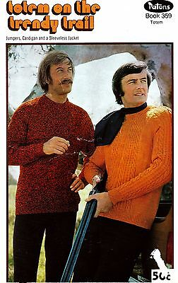 Patons knitting ptn book 359 - MENS 8 ply Classic JUMPERS, CARDIGANS