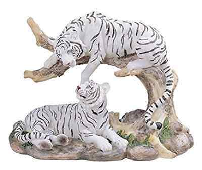 7-Inch Medium Polyresin White Tiger Couple Resting Figurine