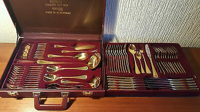SBS Bestecke Solingen Gold Plated 70 Piece / 12 Place Canteen of Cutlery in Case