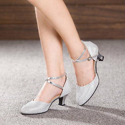 Women Ballroom Party Latin Dance Shoes Glitter Salsa Shoes Closed Toe Heels