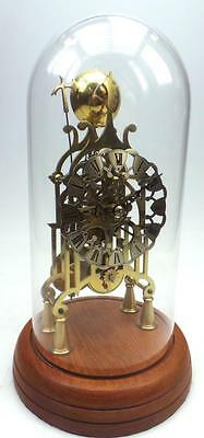 Passing Strike Single Fusee Skeleton Mantel Clock English 8 Day Under Glass Dome