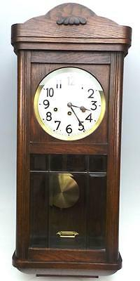 Rare German Antique 8 Day Musical Box Drop Dial Wall Clock - Westminster Chime