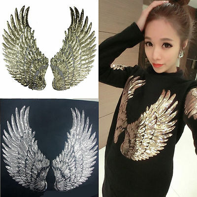 2X Gold Silver Sequin Wing Embroidery Patch Lace Applique Sewing Dress Costume