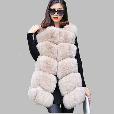 Classic Top 100% Real Genuine Whole Fox Fur Waistcoat Jacket Gilet Vest V0061