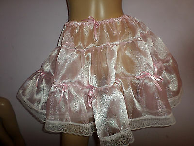 "Pink Organza  Petticoat  16""  Long  30-46 Waist Pink Satin Bows White Lace Trim"