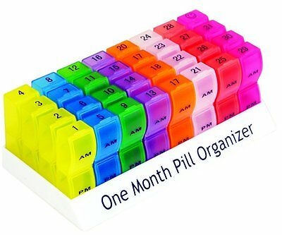 One Month Pill Organiser for Tablets and Medication Weekly Colour Coded AM/PM