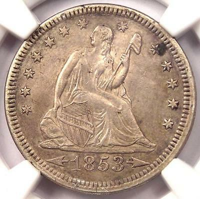 1853 Arrows & Rays Seated Liberty Quarter 25C - NGC AU Details - Rare Type Coin