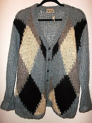 Vintage FRANKLIN SIMON 60s Wool Mohair Cardigan Argyle Sweater MENS LARGE