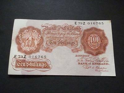 B266 P S Beale 1950 Ten Shilling Note In Very Fine Condition.