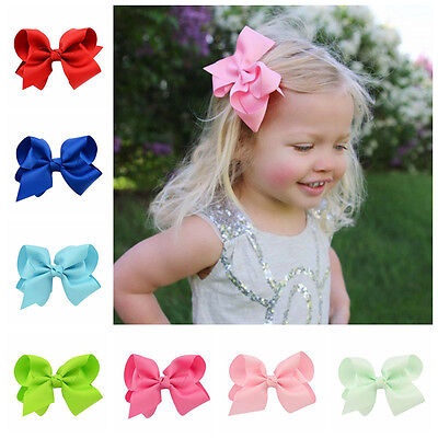"4"" Large Hair Bows Boutique Girls Baby Alligator Clip Grosgrain Ribbon"
