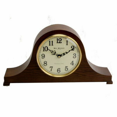 Vintage Style Wooden Case Napoleon Mantel Clock w Arabic Numbers & Melody