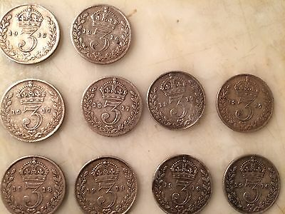 20 George V Three Pence Pieces 1912-1920