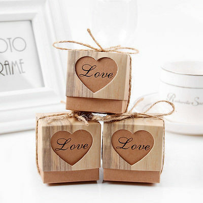 50pcs Wedding Love Heart Rustic Kraft Candy Boxes Vintage Ribbon Gift Favor Set