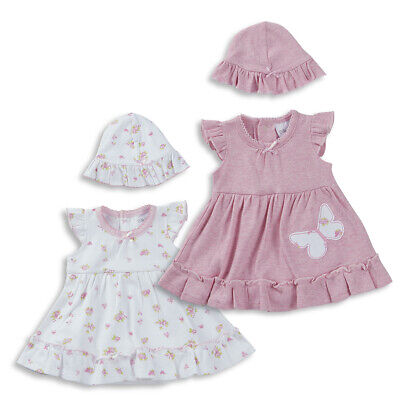 Premature Tiny Baby Girls Bodysuit Floral Dress & Hat Clothes Set Outfit 5-8Lbs