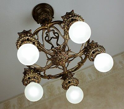 1920's ANTIQUE VINTAGE FIVE LIGHT ART DECO Ceiling Light Fixture CHANDELIER