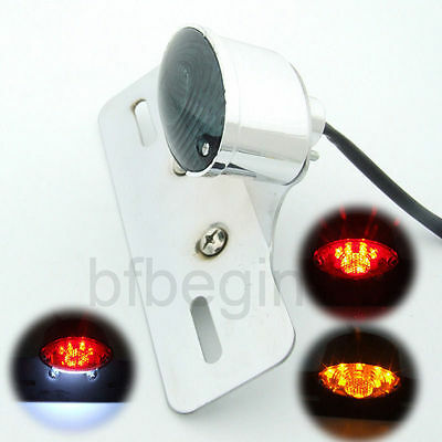 Motorcycle Bike Chrome LED Rear Tail Breke Stop Light Number Plate Mout Lamp