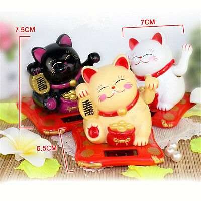 2Size Solar Powered Chinese Welcoming Lucky Beckoning Fortune Cat Waving Hand