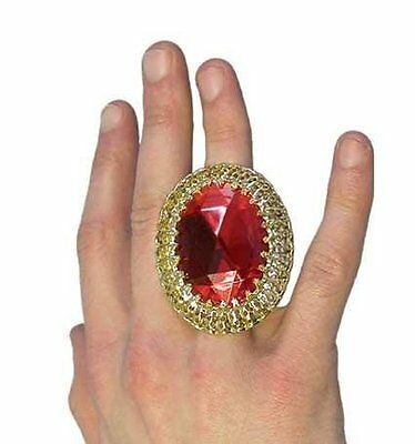Fancy Dress Accessory Gold Ring With Red Jewel