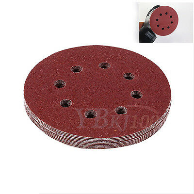 10PCS 5 inch 125mm Round Shaped Sanding Disc Pads 8 Hole Sandpaper 60-1000 Grit
