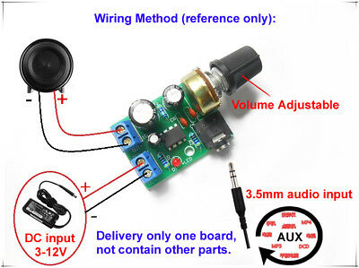 LM386 Mini Audio Power Amplifier AMP Board DC 3V~12V 5V Module Adjustable Volume