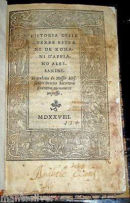 1528 POST INCUNABLE Roman APPIAN History CIVIL WAR Ancient MILITARY Rome ITALIAN