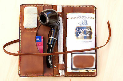 Personalized Leather Pipe & Tobacco Pouch leather Pipe Roll - handmade Pipe Bag