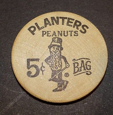 Vintage Dont's Take Wooden Nickels Planters Peanuts 5 Cent Bag Real McCoy