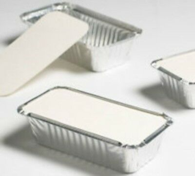 100 x Aluminium Foil Takeaway Food Cooking Containers+ Lids (200mm x110mm x51mm)
