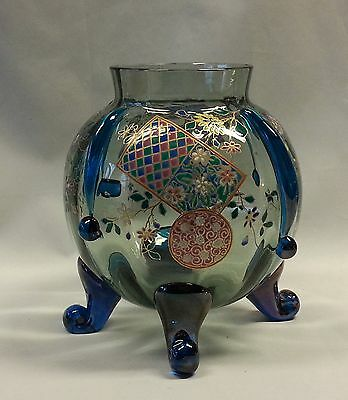Gorgeous Large AUGUSTE JEAN French Art Nouveau Enameled Iridized Glass Vase